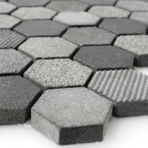 Mosaïque Hexagone Pierre Naturelle Notte Anthracite